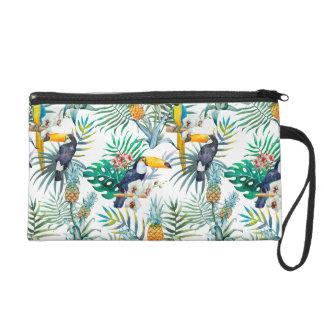 Tropical summer Pineapple Parrot Bird watercolor Wristlet