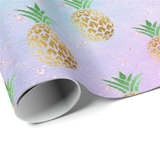 Tropical summer pineapple pink  fruit peach gold wrapping paper
