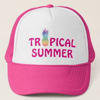 Tropical summer pineapple pink girl's trucker hat