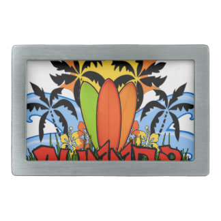 Tropical summer rectangular belt buckles