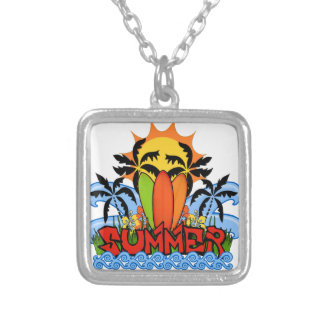 Tropical summer silver plated necklace