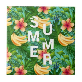 Tropical summer text on banana flowers background ceramic tile