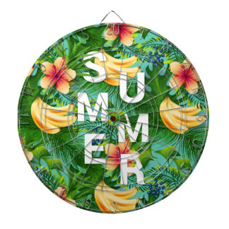 Tropical summer text on banana flowers background dartboard