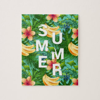 Tropical summer text on banana flowers background jigsaw puzzle