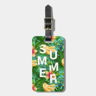 Tropical summer text on banana flowers background luggage tag