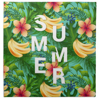 Tropical summer text on banana flowers background napkin