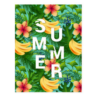 Tropical summer text on banana flowers background postcard