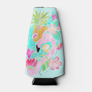 Tropical summer watercolor flamingo pineapple bottle cooler