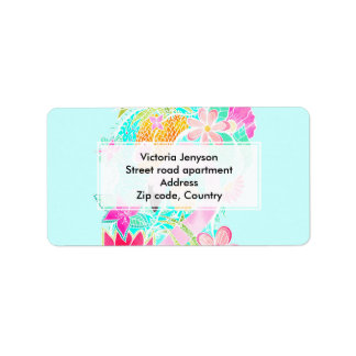 Tropical summer watercolor flamingo pineapple label