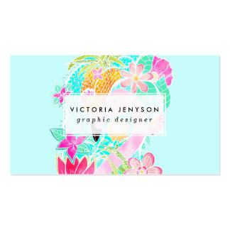 Tropical summer watercolor flamingo pineapple pack of standard business cards