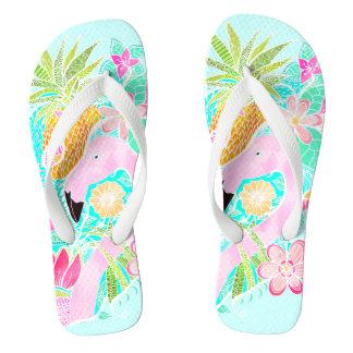 Tropical summer watercolor flamingo pineapple thongs