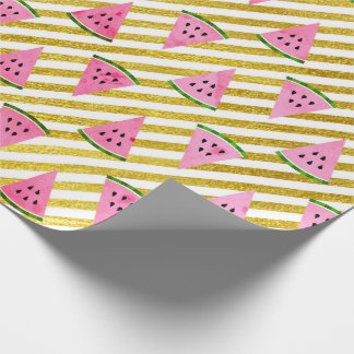 Tropical  summer watermelon fruits golden stripes wrapping paper