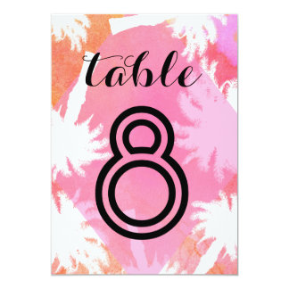 Tropical Summer Wedding Table Numbers 13 Cm X 18 Cm Invitation Card