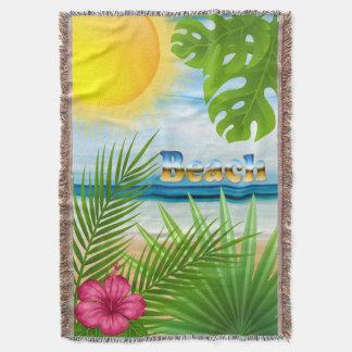 Tropical Sunrise Beach Paradise Throw Blanket
