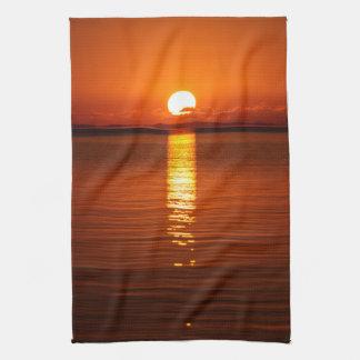 Tropical Sunrise in Orange Tea Towel