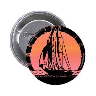 tropical sunrise sunset ship pinback button