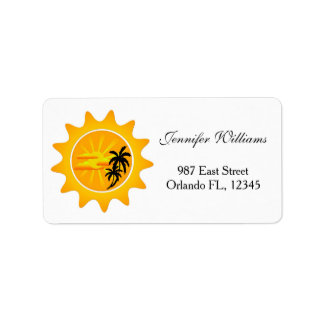 Tropical sunset address label
