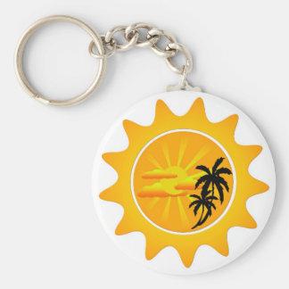 Tropical sunset basic round button key ring