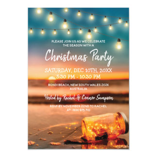 Tropical Sunset Beach Christmas Party Card