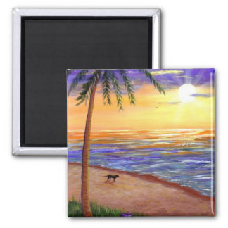 Tropical Sunset Beach Dog by Creationarts Magnet