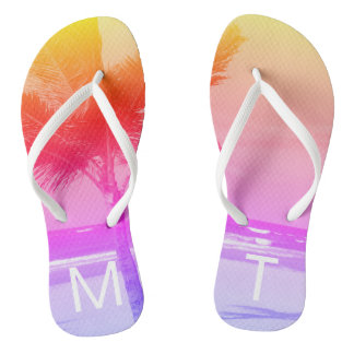 Tropical Sunset Beach & Palm Tree Initial Pink Thongs