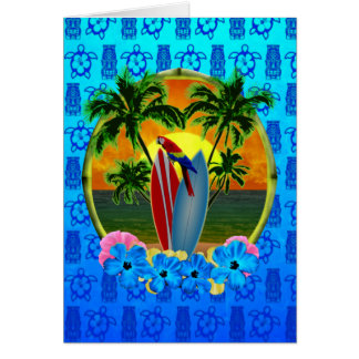 Tropical Sunset Blue Tiki Greeting Card