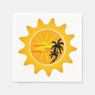 Tropical sunset disposable serviettes