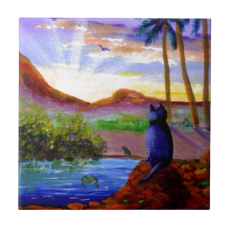 Tropical Sunset Funny Cat Frog Creationarts Small Square Tile