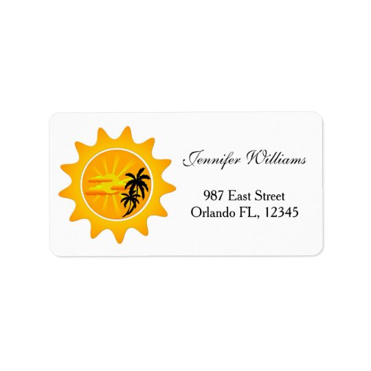 Tropical sunset label