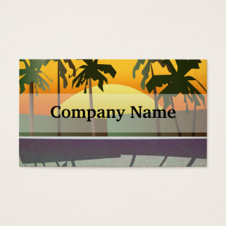 Tropical Sunset Landscape, Palm Trees Business Card