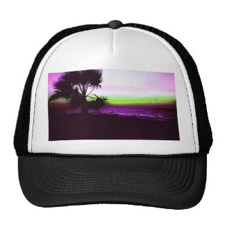 Tropical Sunset of Beach & Trees in Purple Cap