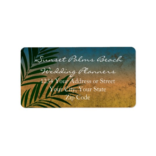 Tropical Sunset Palm Fronds Address Label