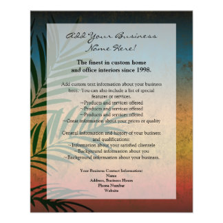 Tropical Sunset Palm Fronds Personalized Flyer