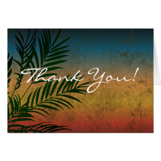 Tropical Sunset Palm Fronds Thank You Notes Greeting Cards