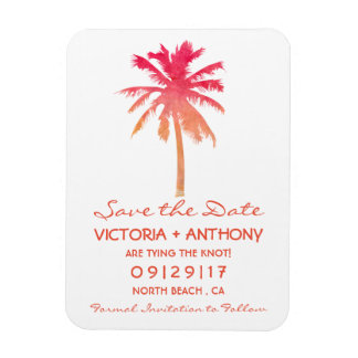 Tropical Sunset Palm Tree Beach Save The Date Magnet