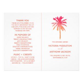 Tropical Sunset Palm Tree Beach Wedding Program Flyer
