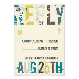 Tropical Sunset Palm Trees Beach Blue Summer RSVP Personalized Invitations