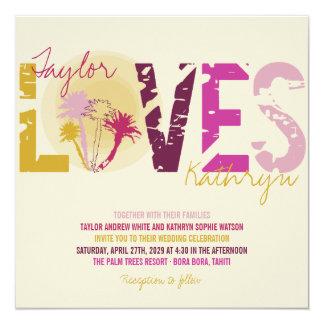 Tropical Sunset Palm Trees Beach Summer Wedding 13 Cm X 13 Cm Square Invitation Card