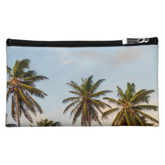 Tropical sunset palm trees in Vintage Style Cosmetic Bags
