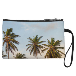 Tropical sunset palm trees in Vintage Style Wristlet Purses