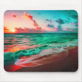 Tropical Sunset Paradise On Sandy Beach Mouse Pad