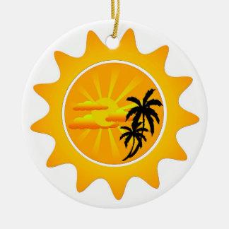 Tropical sunset round ceramic decoration