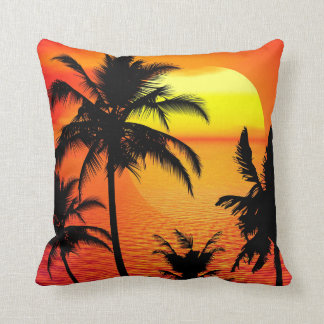 TROPICAL SUNSET SILHOUETTE THROW PILLOW