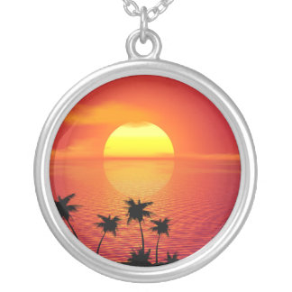 Tropical Sunset Silver Plated Necklace