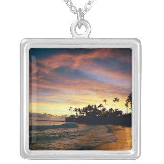 Tropical Sunset Square Pendant Necklace