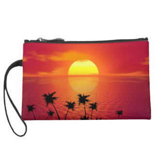 Tropical Sunset Suede Wristlet
