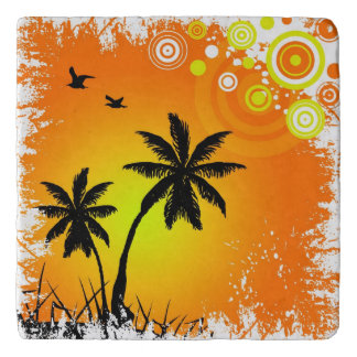Tropical sunset trivets