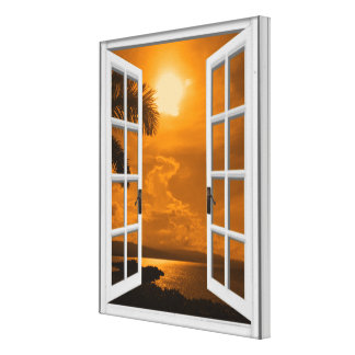 Tropical Sunset View Artificial Window Canvas Print