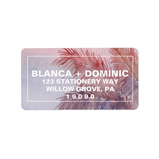 Tropical Sunset Wedding Address Label