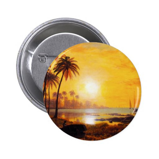 Tropical Sunset with Fishing Boats Button